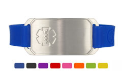 Stainless Steel Large Silicone Flex Medical ID Bracelet