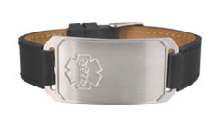 Stainless Steel Large Leather Flex Embossed Medical Bracelet