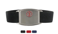 Stainless Steel Small Sportband Flex Red Outline Medical ID Bracelet