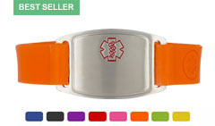 Stainless Steel Small Silicone Flex Red Outline Medical ID Bracelet