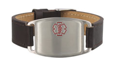 Stainless Steel Small Leather Flex Red Outline