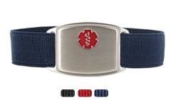 Stainless Steel Small Sportband Flex Red Medic ID Bracelet