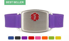Stainless Steel Small Silicone Flex Red Medical Alert Bracelet