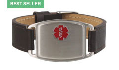 Stainless Steel Small Leather Flex Red Med Alert Bracelet