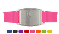 Stainless Steel Small Silicone Flex Medical ID Bracelet