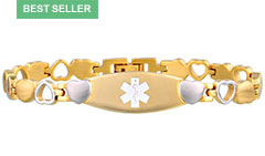 Gold Tone Eternity Medical ID Bracelet