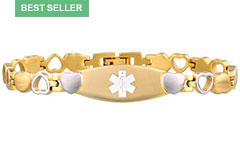 Gold Tone Eternity Medical ID Bracelet