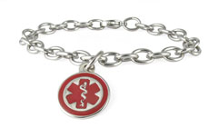 Stainless Steel Mini Pendant Charm Medical ID Bracelet