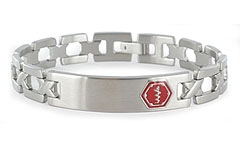 Lynx Roman Stainless Steel Medical Alert Bracelet with My IHR Available