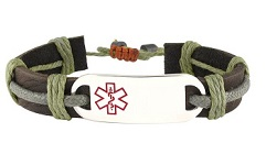 Epic Earth Leather Medical ID Bracelet