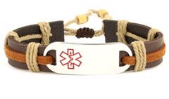 Epic Rustic Medical Alert Leather Bracelet