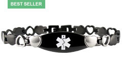 Onyx Eternity Black Medical ID Bracelet