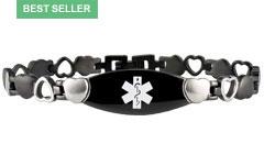 Onyx Eternity Black Medical ID Bracelet