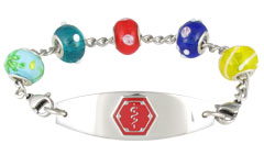 Charm Bead Shimmer Medical ID Bracelet
