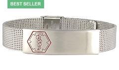 Stainless Steel Sleek Mesh Medical ID Bracelet