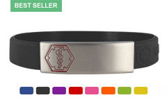 Stainless Steel Sleek Red Outline Medical ID Bracelet