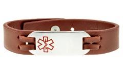 Urban Brown Leather Medical ID Bracelet