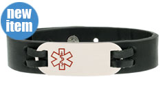 Urban Black Leather Medical ID Bracelet