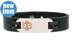 Urban Black Leather Medical ID Bracelet
