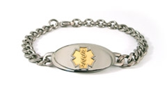 Titanium Curve Gold Medical ID Bracelet
