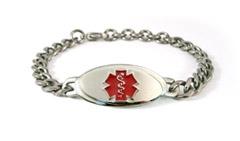 Titanium Curve Red Medical ID Bracelet