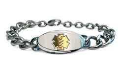 Large Titanium Curve Gold Medical Alert Bracelet