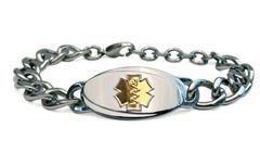 Large Titanium Curve Gold Medical Alert Bracelet