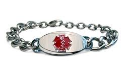 Large Titanium Curve Red Medical ID Bracelet