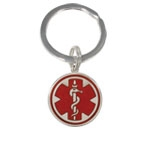 Sterling Silver Pendant Red Medical Key Chain
