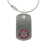 Stainless Steel Dog Tag Red Medical ID Alert Key Chain