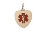 Gold Red Heart Charm Medical Alert Bracelet