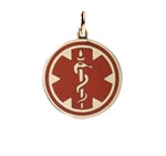 Gold/Gold-Filled Pendant Red Medical ID Necklace