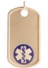 Gold/Gold-Filled Medical Alert Dog Tag Necklace Blue