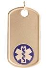 Gold/Gold-Filled Medical Alert Dog Tag Necklace Blue