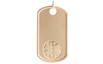Gold/Gold-Filled Medical ID Dog Tag Necklace Embossed full size