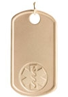 Gold/Gold-Filled Medical ID Dog Tag Necklace Embossed