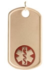 Gold/Gold-Filled Medical Allergy Dog Tag Necklace Red