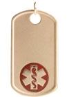 Gold/Gold-Filled Medical Allergy Dog Tag Necklace Red