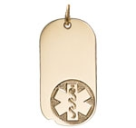 Gold Large Medical Alert Oval Dog Tag