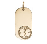 Gold/Gold-Filled Oval Dog Tag Medical ID Necklace