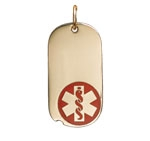 Gold/Gold-Filled Oval Dog Tag Red Medical ID Necklace