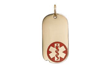 Gold/Gold-Filled Oval Dog Tag Red Medical ID Necklace full size