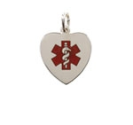 Sterling Silver Red Heart Medic ID Necklace