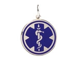 Sterling Silver Blue Pendant Medical ID Necklace