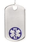 Sterling Silver Medical ID Dog Tag Blue