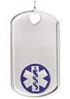 Sterling Silver Medical ID Dog Tag Blue