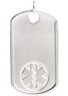 Sterling Silver Medical Alert Dog Tag Embossed