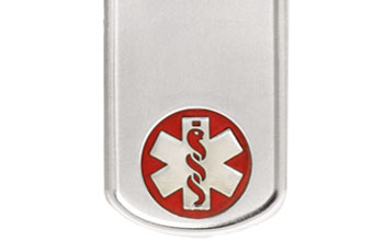 Sterling Silver Dog Tag Red Medical Alert Necklace full size