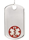 Sterling Silver Dog Tag Red Medical Alert Necklace
