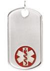 Sterling Silver Dog Tag Red Medical Alert Necklace